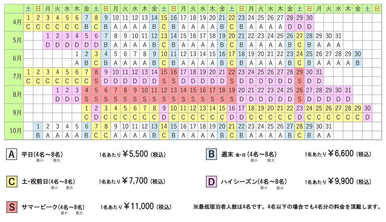 料金カレンダー